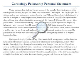 personal statement fellowship cardiology sample