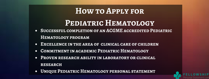 how to apply for pediatric hematology