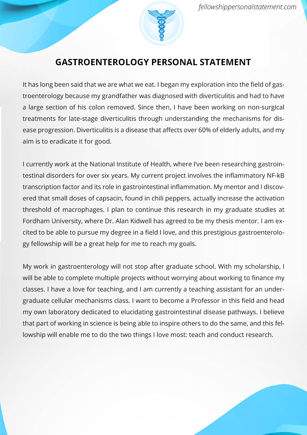 Powerful And Unique Personal Statement For Fellowship Sample
