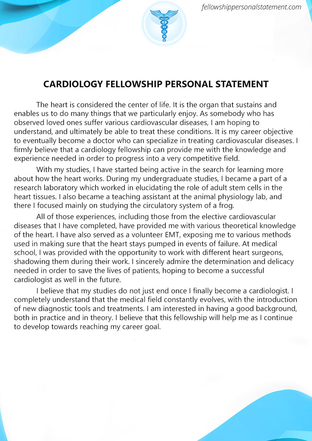Cardiology, Cardiovascular U0026 Pediatric Fellowship Personal Statement  Example Of Personal Statement