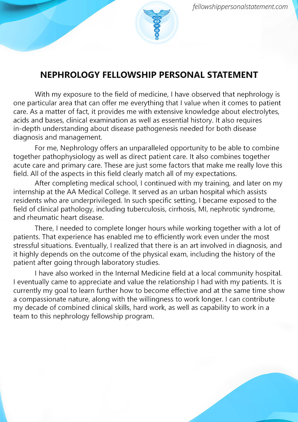impressive nephrology fellowship personal statement writing