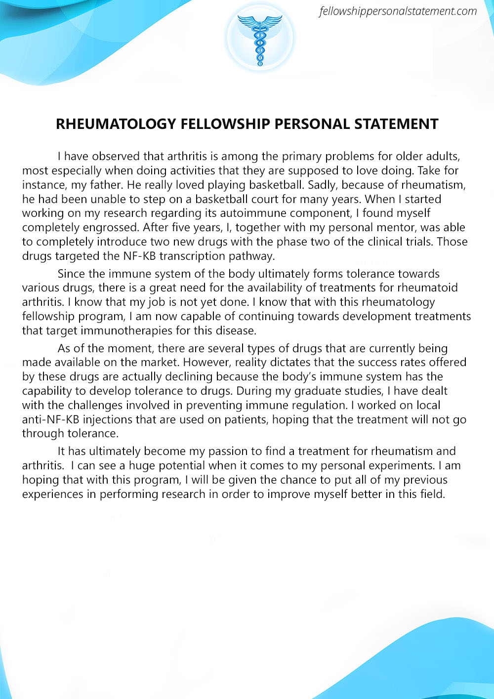 rheumatology fellowship personal statement writing service