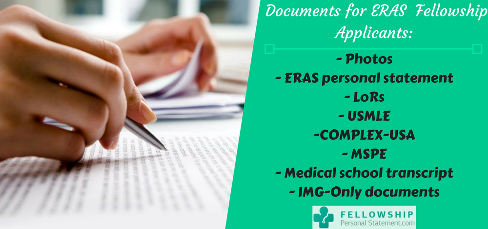 documents for ERAS fellowship applicants