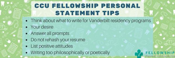 ccu fellowship personal statement tips