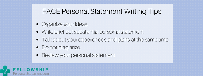 face personal statement writing tips