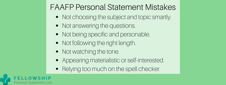faafp personal statement mistakes