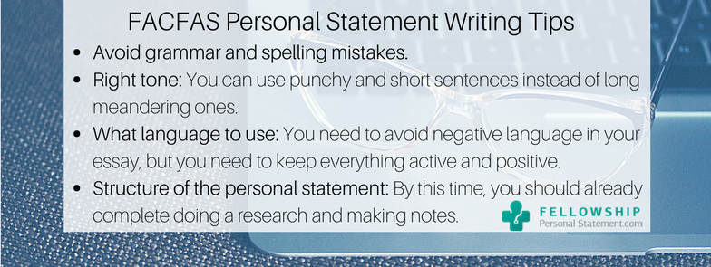 facfas personal statement writing tips