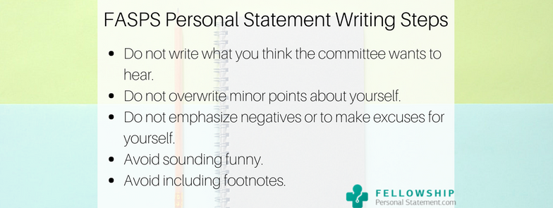fasps personal statement writing steps