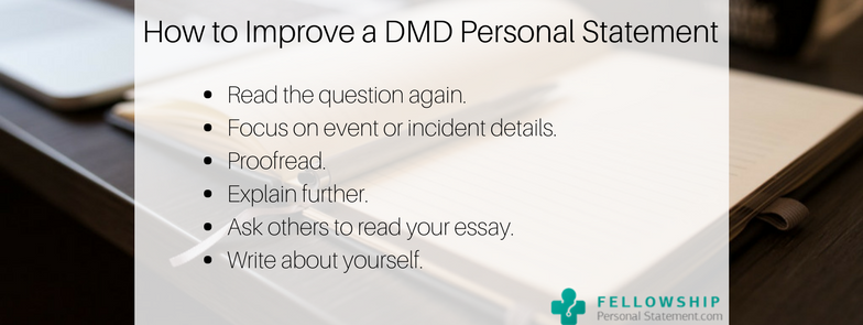 how to improve a dmd personal statement
