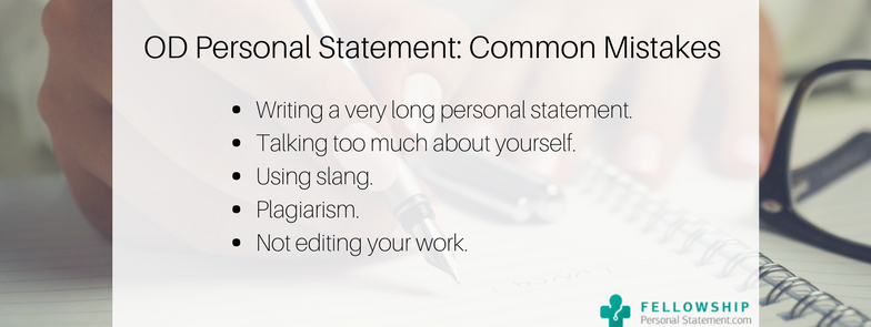 od personal statement common mistakes