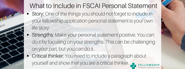 what to include in fscai personal statement