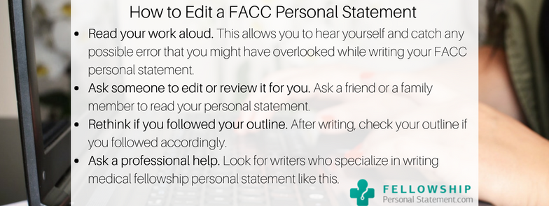 how to edit a facc personal statement