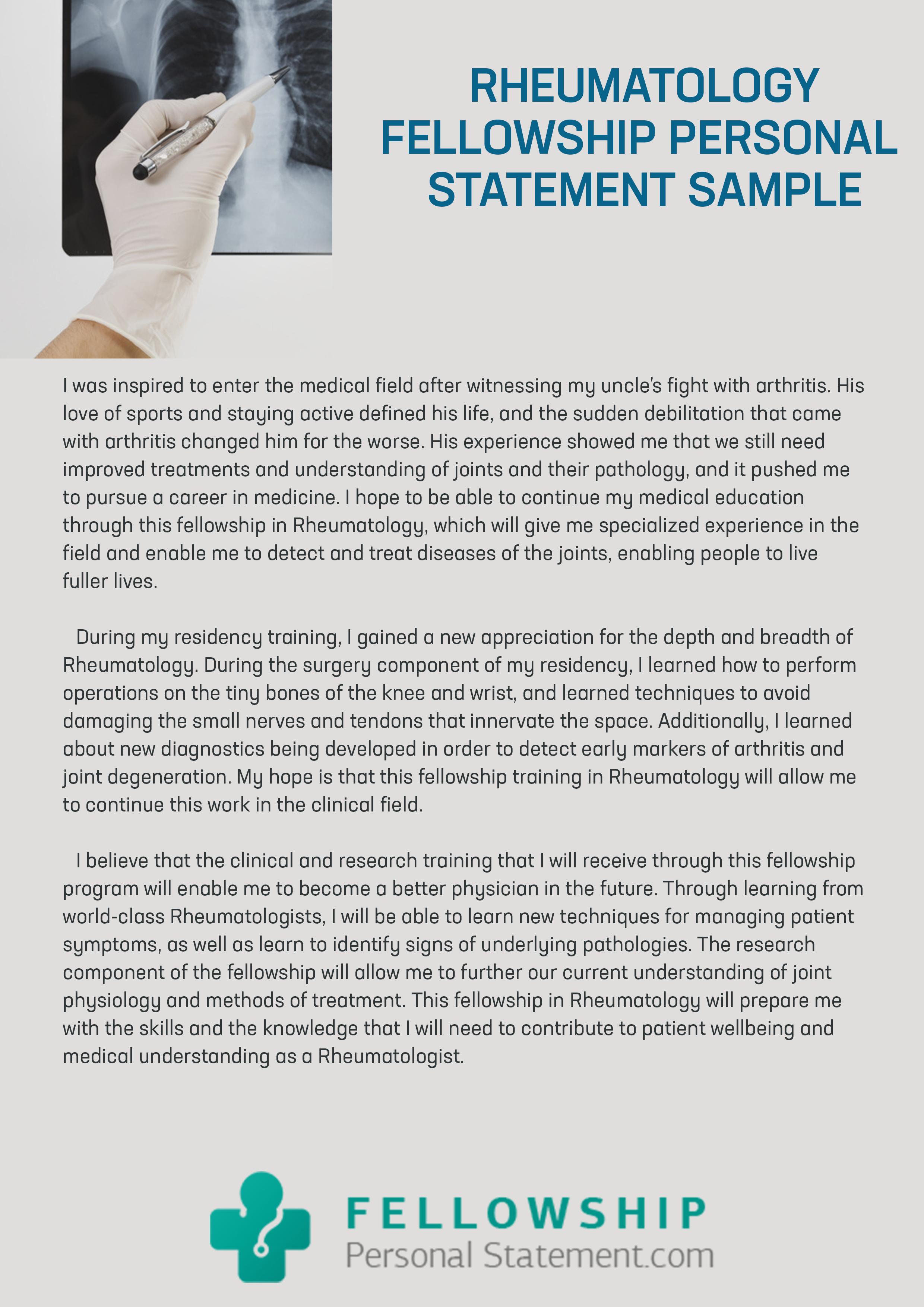 Medicine Fellowship Personal Statement Examples - gaurani