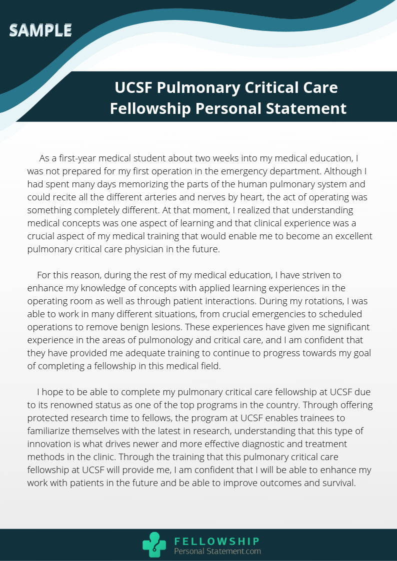 pulmonary fellowship personal statement sample