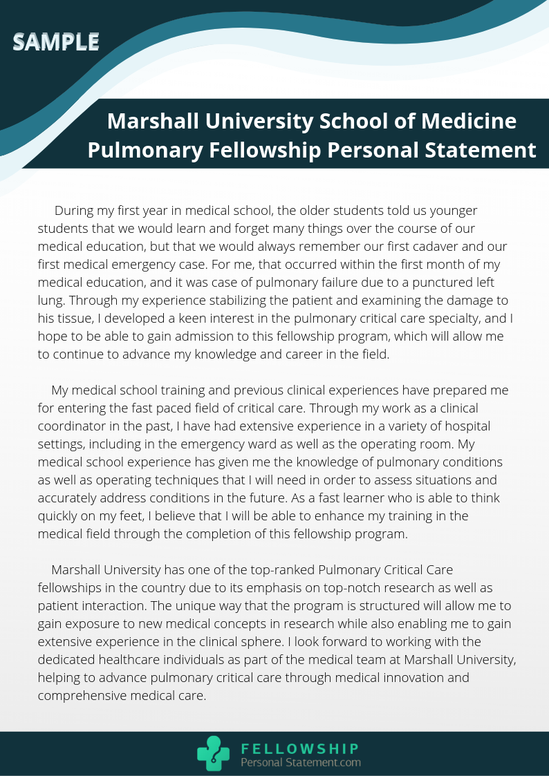 sample personal statement for pulmonary critical care fellowship
