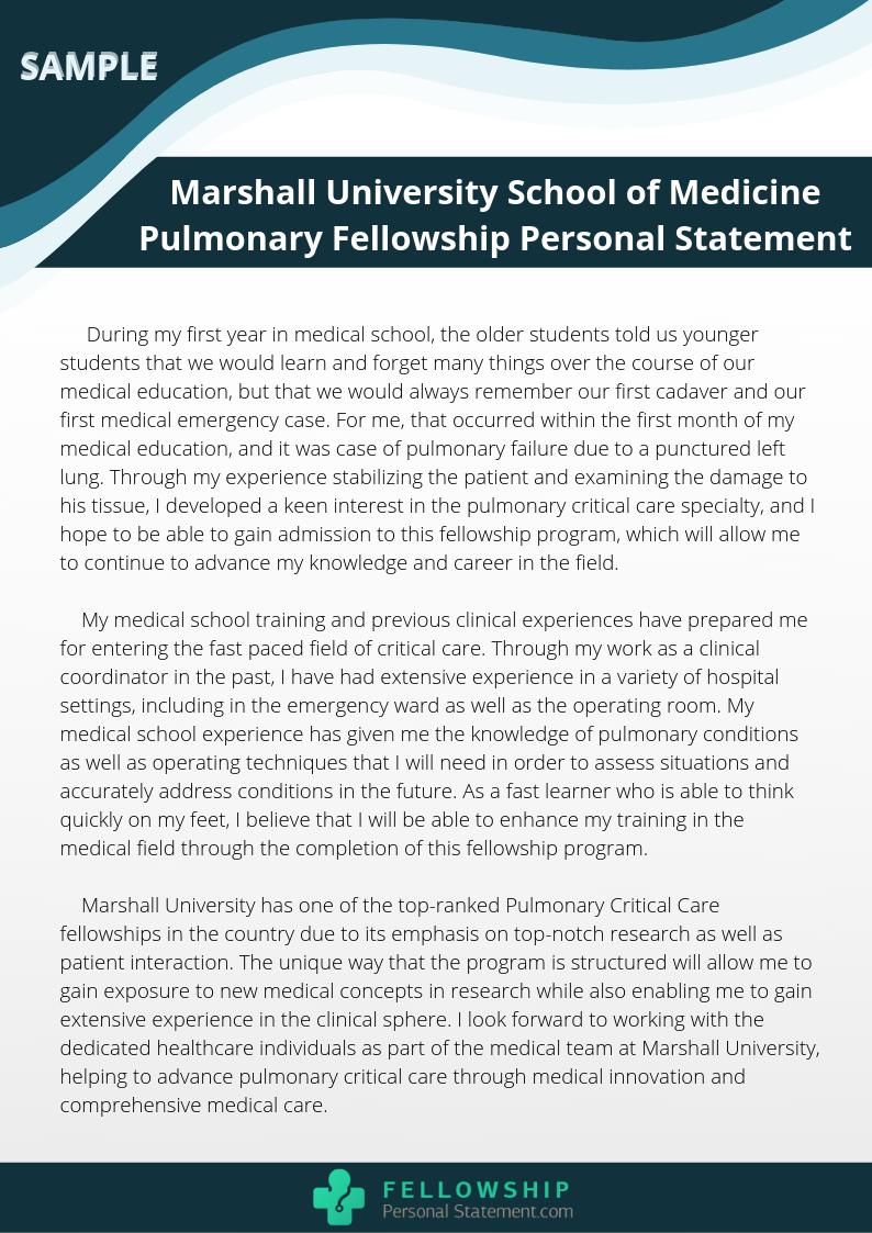 Pulmonary Fellowship Personal Statement Writing Assistance