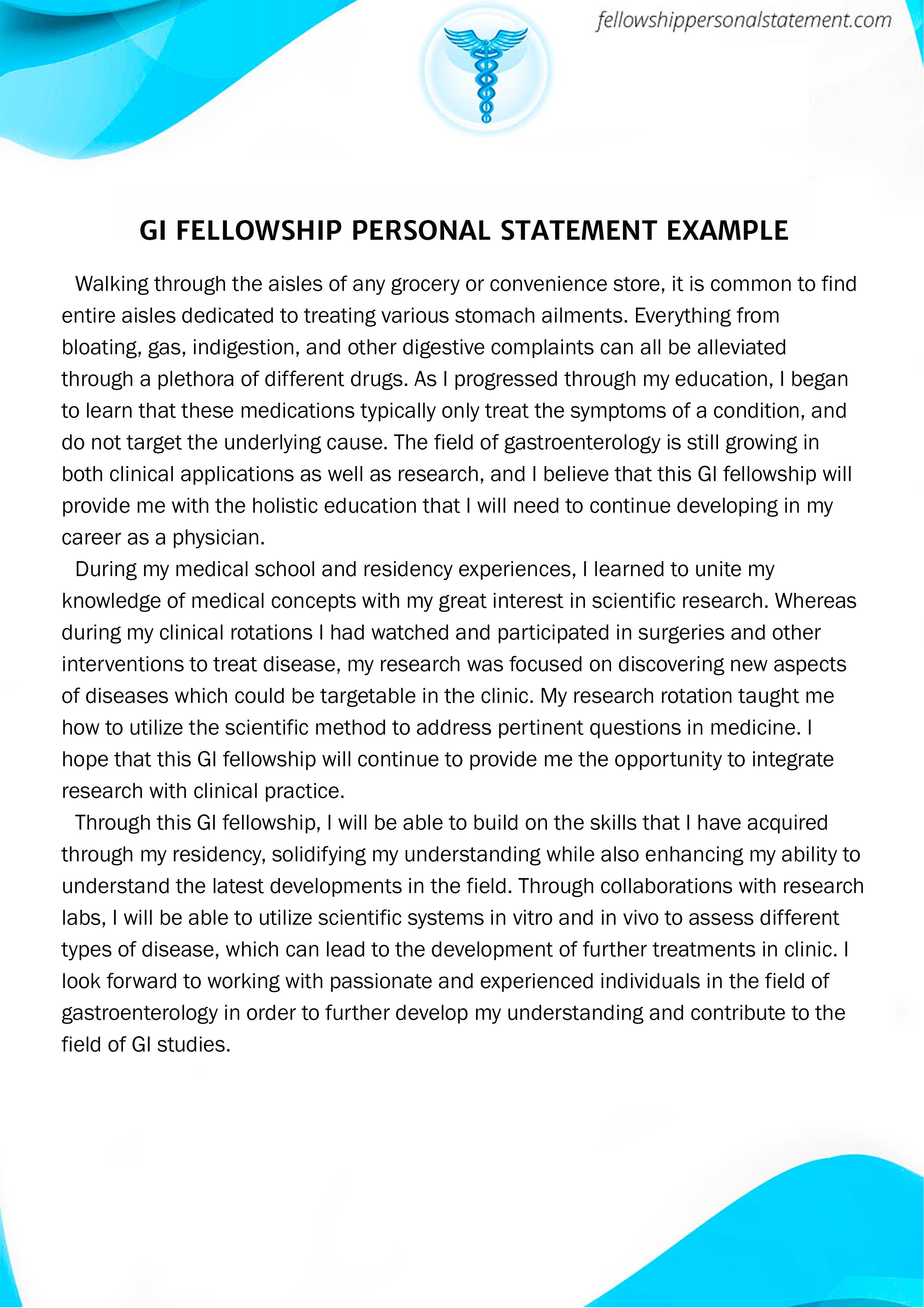 Great Gastroenterology Fellowship Personal Statement Sample